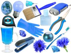 Abstract set of blue objects Stock Photos