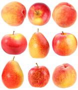 abstract set of fresh red fruits - stock photo