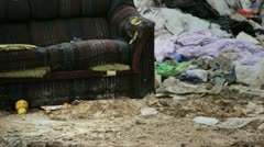 Couch in Trash Dump Stock Footage