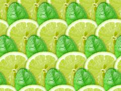 background of lime slices and green leaf - stock photo