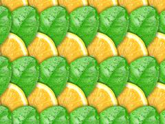 background with lemon slices and green leaf - stock photo