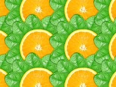 Background of orange slices and green leaf Stock Photos