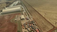 Aerial view of CPA Cooperativa Integrada and agricultural area Stock Footage
