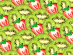Background of fresh kiwi and strawberry slices Stock Photos