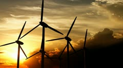 Stock Video Footage of Beautiful landscape view of sunset and wind turbine field