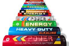 Row of AA batteries - stock illustration
