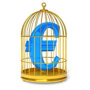 Euro in cage - stock illustration