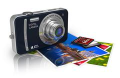 Compact digital camera and photos - stock illustration