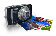 Compact digital camera and photos Stock Illustration