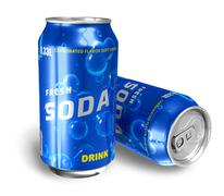 Refreshing soda drinks in metal cans Stock Illustration