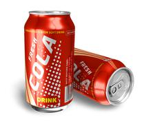 Cola drinks in metal cans - stock illustration