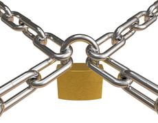 Crossed chains with padlock Stock Illustration