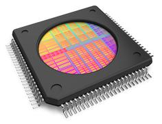 Microchip with visible die Stock Illustration