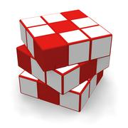Cube puzzle - stock illustration