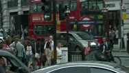 London Underground  tube stop Red buses Stock Footage