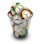Wasting time concept: alarm clocks in the trash bin - stock illustration