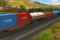 Freight train passing by mountain range - stock illustration