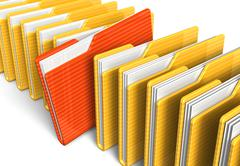 Row of file folders - stock illustration