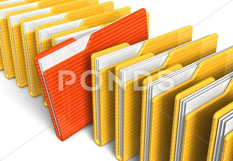 Stock Illustration of Row of file folders