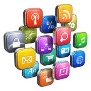 Software concept: cloud of program icons Stock Illustration