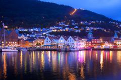 Evening panorama of Bergen, Norway - stock photo