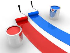 Red and blue paint - stock illustration