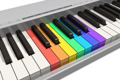 Rainbow piano keyboard - stock illustration