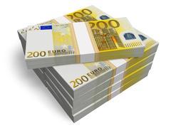 Stacks of 200 Euro banknotes - stock illustration