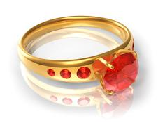 Golden ring with red jewels Stock Illustration