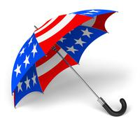 Umbrella with US national flag Stock Illustration