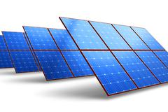 Rows of solar battery panels Stock Illustration