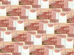 Background of money pile 5000 russian rouble Stock Photos