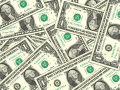 background of money pile 1 usa dollars - stock photo