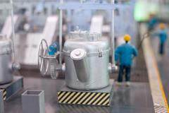 electrical equipment production line - stock photo