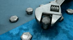 Spanner and nut 3d animation, tool, work. Stock Footage