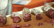 Salami sausages Stock Photos