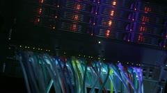 Server Rack blue toned Stock Footage