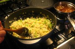 making risotto - stock photo