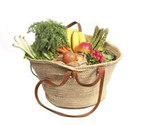 Organic fruit and vegetables in shopping bag Stock Photos