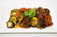 Roasted vegetables on a plate Stock Photos