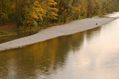 alone on the isar - stock photo