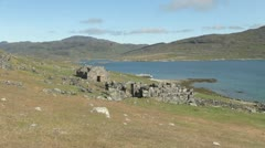 Greenland Hvalsey Nordic church ruin zoom in  Stock Footage
