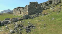 Greenland Hvalsey Norse church ruin with stones Stock Footage