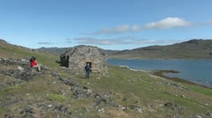 Greenland Hvalsey Norse church ruin with people Stock Footage