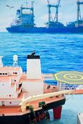 Offshore oil exploration vessels Stock Photos