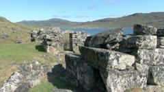 Greenland Hvalsey Nordic ruin 1 Stock Footage