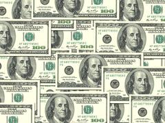 Background of money pile 100 usa dollars Stock Photos