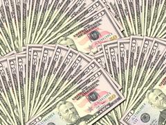background of money pile 50 usa dollars - stock photo