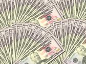 Stock Photo of background of money pile 50 usa dollars