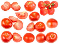 Slices and full ripe red fresh tomatoes Stock Photos